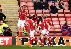 Kieffer Moore of Barnsley celebrates scoring a goal to make it 1-0 - Mandatory by-line: Robbie Stephenson/JMP - 30/03/2018 - FOOTBALL - Oakwell Stadium - Barnsley, England - Barnsley v Bristol City - Sky Bet Championship