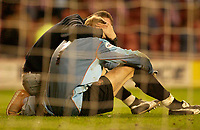 Photo. Glyn Thomas, Digitalsport<br /> NORWAY ONLY<br /> <br /> Sunderland v Crystal Palace. <br /> Division 1 Playoffs, second leg. 17/05/2004.<br /> Sunderland's keeper Mart Poom is consoled by a fan after coming so close to gaining his side a final place in the penalty shootout.