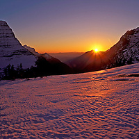 Bearhat Mountain at sunset in the late fall. Logan Pass, Glacier National Park, Montana.