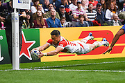 Japan wing Akihito Yamada scores a try for Japan during the Rugby World Cup Pool B match between Samoa and Japan at stadium:mk, Milton Keynes, England on 3 October 2015. Photo by David Charbit.