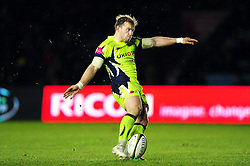 Sam James of Sale Sharks kicks for the posts - Mandatory byline: Patrick Khachfe/JMP - 07966 386802 - 03/02/2017 - RUGBY UNION - The Twickenham Stoop - London, England - Harlequins v Sale Sharks - Anglo-Welsh Cup.