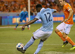 August 4, 2018 - Houston, TX, U.S. - HOUSTON, TX - AUGUST 04:  Sporting Kansas City forward Gerso (12) takes a shot on goal during the soccer match between Sporting Kansas City and Houston Dynamo on August 4, 2018 at BBVA Compass Stadium in Houston, Texas.  (Photo by Leslie Plaza Johnson/Icon Sportswire) (Credit Image: © Leslie Plaza Johnson/Icon SMI via ZUMA Press)