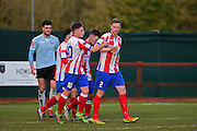 Dorking Wanderers Thomas Summerfield and Dorking Wanderers Robb Sheridan celebrate a goal during the Ryman League - Div One South match between Dorking Wanderers and Lewes FC at Westhumble Playing Fields, Dorking, United Kingdom on 28 January 2017. Photo by Jon Bromley.