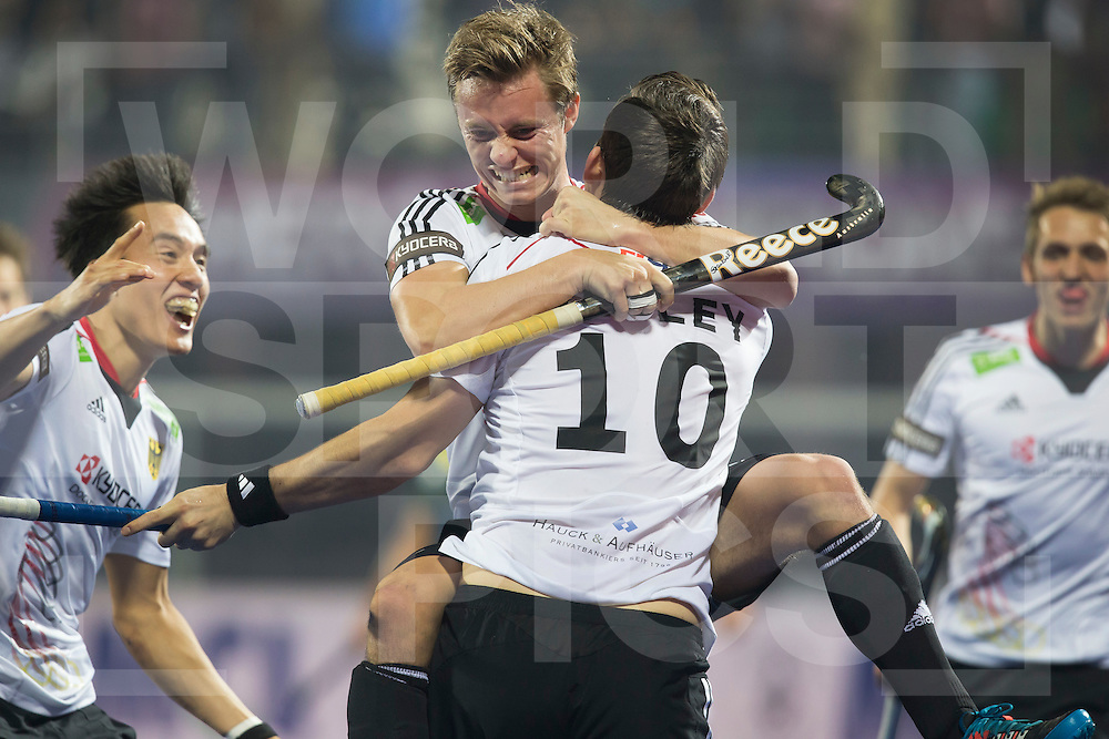BHUBANESWAR (India) -  Hero Champions Trophy hockey men. Final between Germany and Pakistan. Christopher Wesley (10) of Germany  has scored and celebrates with Mats Grambusch of Germany. left Dan Nguyen Luong of Germany. Photo Koen Suyk