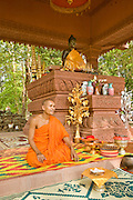 19 MARCH 2006 - SIEM REAP, SIEM REAP, CAMBODIA: Buddhist monk at a contemporary temple within the environs of the Angkor Wat complex. Angkor Wat, which was built in stages through the 1400s, is the most popular tourist attraction in Cambodia and is expected to draw one million foreign visitors in 2006. It is still in use as Buddhist temple complex and life goes on in the monasteries around Angkor Wat despite the hordes of tourists tramping through the site.  Photo by Jack Kurtz / ZUMA Press