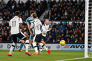 Wigan Athletic striker Yanic Wildschut (31) has a shot and hits the post (0-0) during the EFL Sky Bet Championship match between Derby County and Wigan Athletic at the iPro Stadium, Derby, England on 31 December 2016. Photo by Richard Holmes.