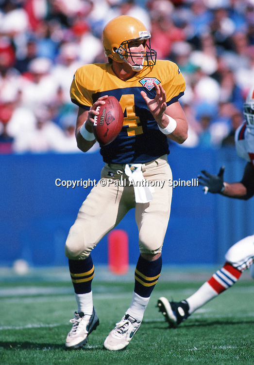 Green Bay Packers quarterback Brett Favre (4) throws a pass during the NFL football game against the New England Patriots on Oct. 2, 1994 in Foxborough, Mass. The Patriots won the game 17-16. (©Paul Anthony Spinelli)