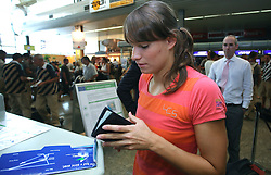 Swimmer Sara Isakovic of Slovenian Olympic Team at departure to Beijing 2008 Olympic games, on July 31, 2008, at Airport Jozeta Pucnika, Brnik, Slovenia. (Photo by Vid Ponikvar / Sportal Images)/ Sportida)