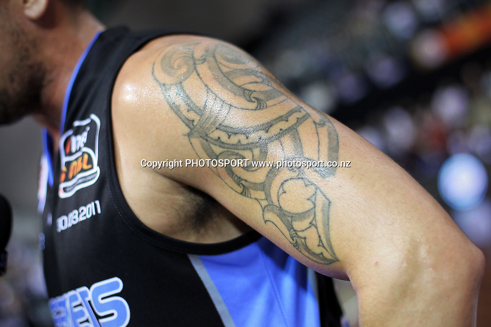 Breakers' Paul Henare's tattoo. iinet ANBL, New Zealand Breakers vs Adelaide 36ers, North Shore Events Centre, Auckland, New Zealand. Wednesday 30th March 2011. Photo: Anthony Au-Yeung / photosport.co.nz