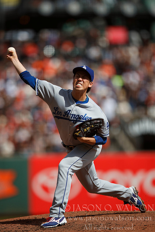 SAN FRANCISCO, CA - OCTOBER 02: Kenta Maeda #18 of the Los Angeles Dodgers pitches against the San Francisco Giants during the third inning at AT&T Park on October 2, 2016 in San Francisco, California. The San Francisco Giants defeated the Los Angeles Dodgers 7-1. (Photo by Jason O. Watson/Getty Images) *** Local Caption *** Kenta Maeda