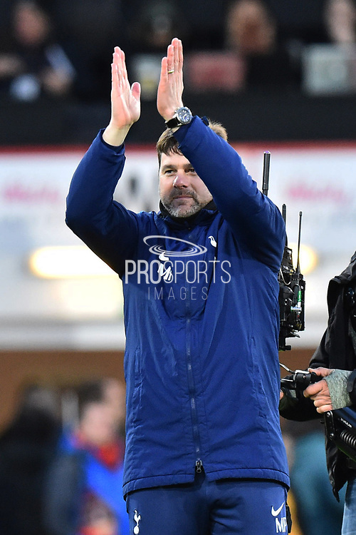 Tottenham Hotspur manager Mauricio Pochettino applauds, claps the Tottenham fans in celebration at full time after a 4-1 win over Bournemouth during the Premier League match between Bournemouth and Tottenham Hotspur at the Vitality Stadium, Bournemouth, England on 11 March 2018. Picture by Graham Hunt.