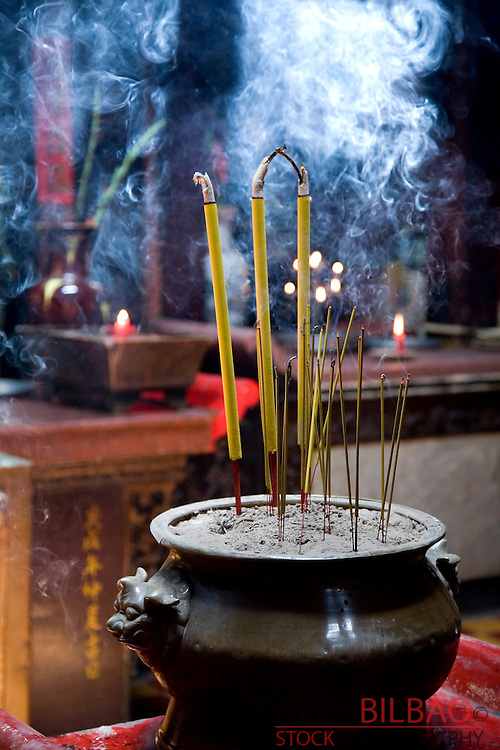 incense sticks in the Taoist Jade Emperor Pagoda (Chua Ngoc Hoang).<br /> Saigon or Ho Chi Minh City, Vietnam, Asia.