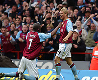 2003-05-03<br />Barclaycard Premiership<br />Aston Villa v Sunderland<br /><br />ASTON VILLA'S MATCH WINNER MARCUS ALLBACK CELEBRATES WITH IAN TAYLOR  DURING TODAYS PREMIERSHIP GAME.<br />PIC BY DANIEL HAMBURY/SPORTSBEAT IMAGES