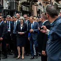 Taormina 26-05-2017 G7, A walk in the G7 leaders before the Summit in the center of Taormina; Theresa May, Donald Tusk