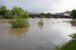 © Licensed to London News Pictures. 29/09/2019. Builth Wells, Powys, Wales, UK. After heavy rain yesterday and last night the river Wye bursts it's banks in the small Welsh market town of Builth Wells in Powys, UK. Photo credit: Graham M. Lawrence/LNP