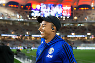 PERTH, AUSTRALIA - JULY 13: Manchester United midfielder Jesse Lingard (14) smiles during pregame at the International soccer match between Manchester United and Perth Glory on July 13, 2019 at Optus Stadium in Perth, Australia. (Photo by Speed Media/Icon Sportswire)