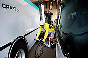 Fabian Cancellara somehow manages forward movement even without being clipped into his pedals--this taken just minutes before starting the ninth stage's 32.1 km time trial around Schaffhausen, where he claimed his second 2011 TDS stage win.