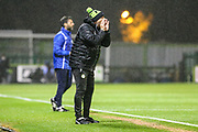 Forest Green Rovers assistant manager, Scott Lindsey shouts instructions during the EFL Sky Bet League 2 match between Forest Green Rovers and Lincoln City at the New Lawn, Forest Green, United Kingdom on 12 September 2017. Photo by Shane Healey.