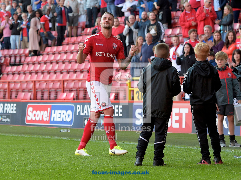 Goalscorer Patrick Bauer of Charlton Athletic celebrates their 1-0 win after the Sky Bet League 1 match at The Valley, London<br /> Picture by Alan Stanford/Focus Images Ltd +44 7915 056117<br /> 05/08/2017