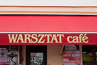 Sign of Warsztat cafe in Krakow Poland
