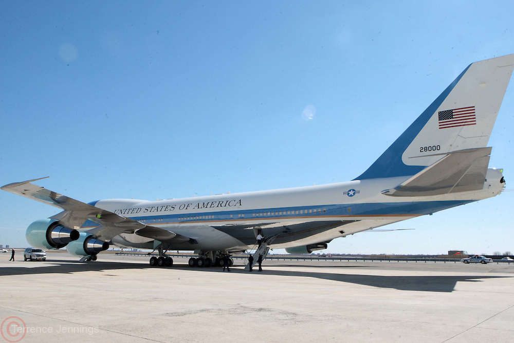29 March 2011-Queens, New York-  U.S. President Barack Obama arrives on Air Force One at JFK Airport for new UN Building dedication ceremony for the late U.S. Commerce Secretary Ron Brown and Democratic Fundraisers in Harlem, NYC. Photo Credit: Terrence Jennings