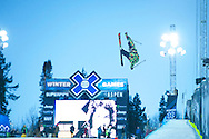 Mike Riddle during Ski Superpipe Practice at 2014 X Games Aspen at Buttermilk Mountain in Aspen, CO. ©Brett Wilhelm/ESPN