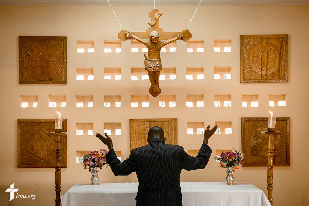 A student leads Vespers at the Lutheran Center for Theological Studies (CLET) on Tuesday, Feb. 14, 2017, in Dapaong, Togo. LCMS Communications/Erik M. Lunsford