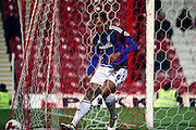 Cardiff City striker, Kenneth Zohore (26) scoring 2-1 during the Sky Bet Championship match between Brentford and Cardiff City at Griffin Park, London, England on 19 April 2016. Photo by Matthew Redman.