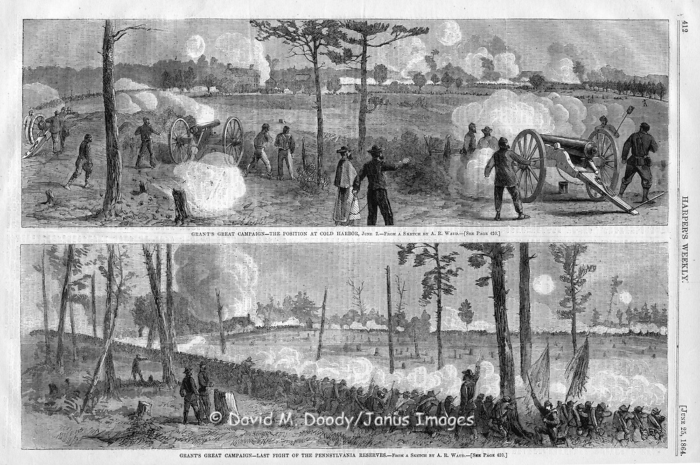 The Civil War Battle of Cold Harbor. Virginia 1864,  from Harper's Weekly July 1864.