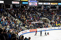 KELOWNA, BC - OCTOBER 26: Fans during the men's long program / free skate of Skate Canada International held at Prospera Place on October 26, 2019 in Kelowna, Canada. (Photo by Marissa Baecker/Shoot the Breeze)