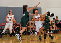 Newfound's Madi Dalphonse and Tiffany Doan get tangled up with Belmont's Julianna Estremera Friday evening during game one of the NHIAA division III basketball.  (Karen Bobotas/for the Laconia Daily Sun)