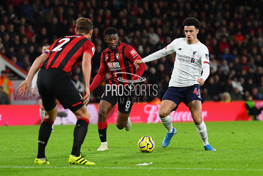 Curtis Jones (48) of Liverpool on the attack takes on Jefferson Lerma (8) of AFC Bournemouth during the Premier League match between Bournemouth and Liverpool at the Vitality Stadium, Bournemouth, England on 7 December 2019.