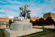SPAIN, MADRID, EDUCATION statue surrounded by buildings on the Campus of Medicine of the University of Madrid