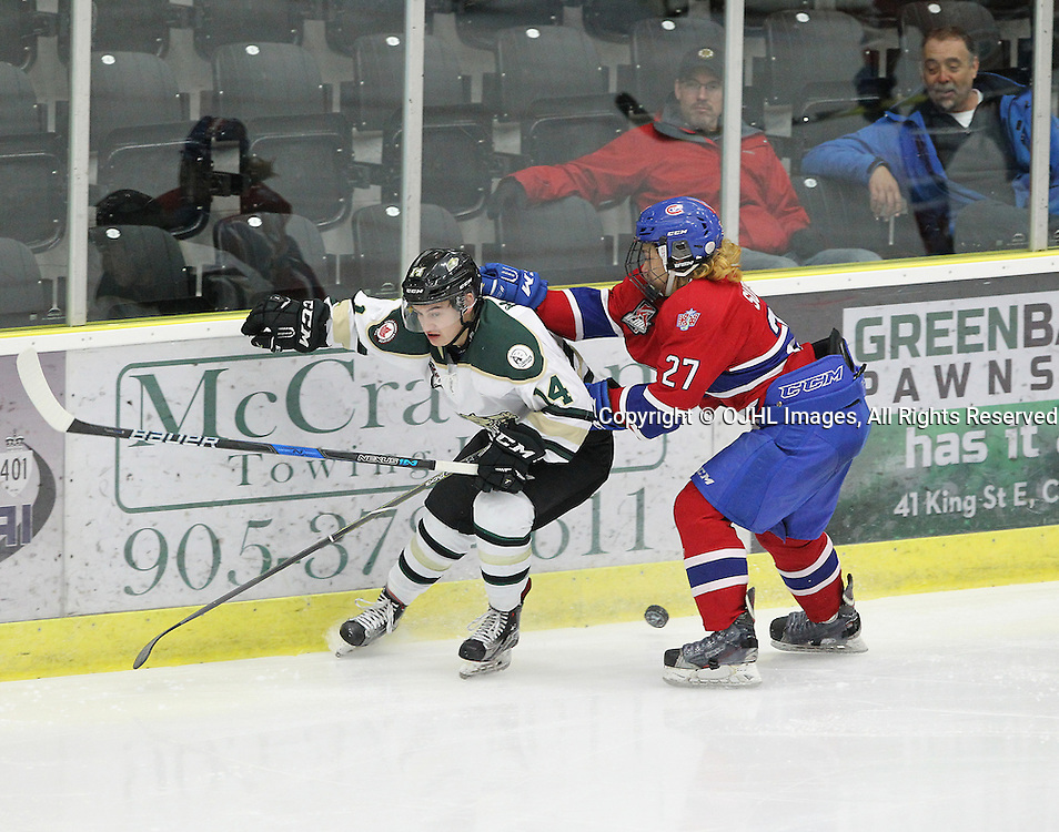 COBOURG, ON  - MAR 4,  2017: Ontario Junior Hockey League, playoff game between the Cobourg Cougars and the Kingston Voyageurs. Daniel McKitrick #14 of the Cobourg Cougars and Andrew Suriyuth #27 of the Kingston Voyageurs skates after the puck during the second period.<br /> (Photo by Tim Bates / OJHL Images)