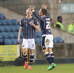 Millwall's Scott McDonald gees he crowd up after Steve Morison scores to make it 1-1 - Photo mandatory by-line: Robin White/JMP - Tel: Mobile: 07966 386802 15/03/2014 - SPORT - FOOTBALL - The Den - Millwall - Millwall v Birmingham City - Sky Bet Championship