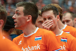 11-08-2019 NED: FIVB Tokyo Volleyball Qualification 2019 / Netherlands - USA, Rotterdam<br /> Final match pool B in hall Ahoy between Netherlands vs. United States (1-3) and Olympic ticket  for USA / Sjoerd Hoogendoorn #10 of Netherlands, Maarten van Garderen #3 of Netherlands