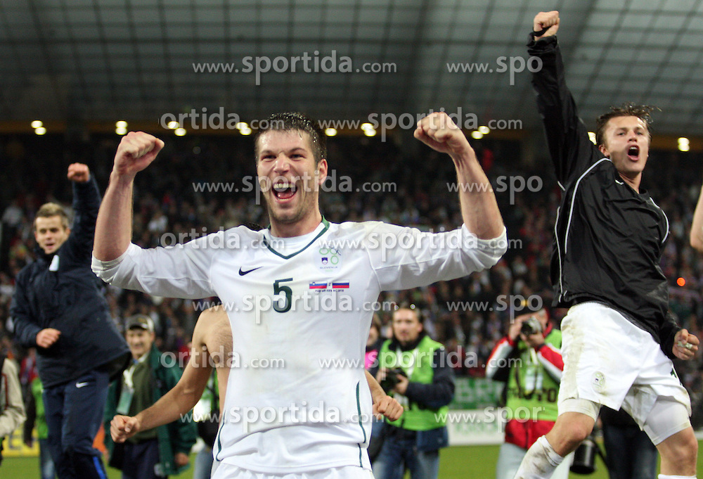 Bostjan Cesar and Zlatko Dedic celebrate at  FIFA World Cup Sout Africa 2010 Qualifying Second Play off match between Slovenia and Russia, on November 18, 2009, in Stadium Ljudski vrt, Maribor, Slovenia. Slovenia won 1:0 and qualified for the FIFA World Championships 2010. (Photo by Vid Ponikvar / Sportida)