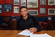 Dundee FC  new signing Nathan Ralph pictured signing at The Kilmac Stadium at Dens Park, Dundee, The 25 Year old left back joins Dundee from Woking<br /> <br /> <br />  - &copy; David Young - www.davidyoungphoto.co.uk - email: davidyoungphoto@gmail.com