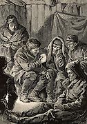 British overland Arctic expedition led by Sir John Franklin (1786-1847) 1819-1822. John Richardson (1787-1865), surgeon and naturalist to the expedition,  reading from his prayer book to the starving remnants of the expedition waiting at 'Fort Enterprise' for help to arrive. Engraving from 'Heroes of Britain' by Edwin Hodder (London, c1880).