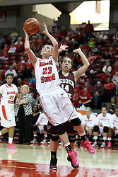 03 March 2013:  Jamie Russell cuts past Karly Buer during an NCAA Missouri Valley Conference (MVC) women's basketball game between the Missouri State Bears and the Illinois Sate Redbirds at Redbird Arena in Normal IL