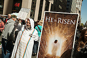 A religious proselytizer on Fifth Avenue was largely ignored by the crowd.