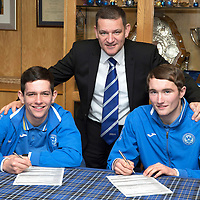 St Johnstone U21 players Dylan Easton (left) and Chris Kane pictured at McDiarmid Park today with Chairman Steve Brown after signing new contracts with St Johnstone....19.12.13<br /> Picture by Graeme Hart.<br /> Copyright Perthshire Picture Agency<br /> Tel: 01738 623350  Mobile: 07990 594431