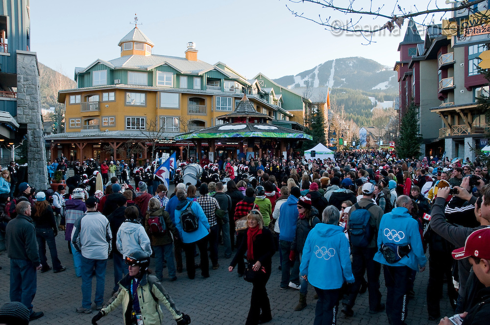 A band from Sardis, BC plays in the Town Plaza to a cheering crowd during the 2010 Olympic Winter Games in Whistler, BC Canada.