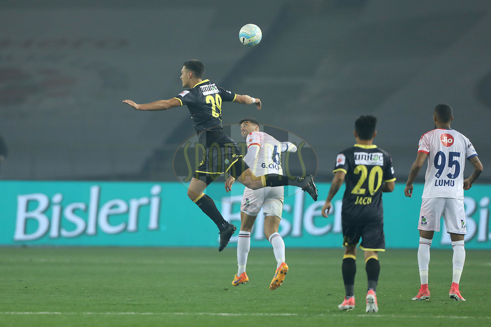 Mark Sifneos of Kerala Blasters FC in action during match 43 of the Hero Indian Super League between Delhi Dynamos FC and Kerala Blasters FC  held at the Jawaharlal Nehru Stadium, Delhi, India on the 10th January 2018<br /> <br /> Photo by: Arjun Singh  / ISL / SPORTZPICS