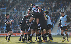 Exeter celebrate their first try.  - Mandatory byline: Alex Davidson/JMP - 12/03/2016 - RUGBY - Sandy Park -Exeter Chiefs,England - Exeter Chiefs v Newcastle Falcons - Aviva Premiership