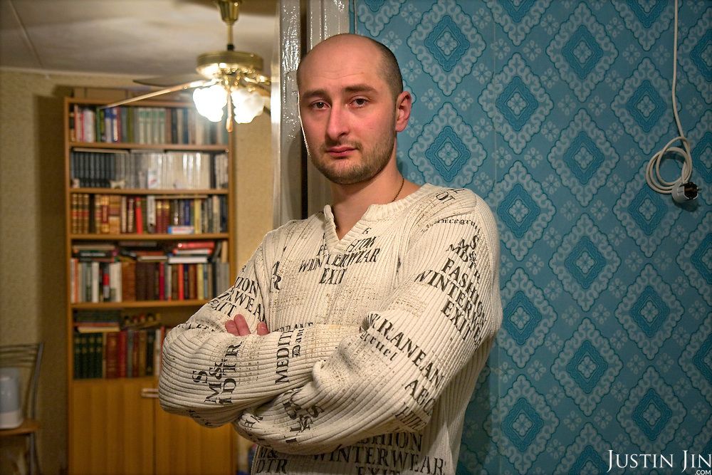 Portrait of Chechnya war veteran writer Arkady Babchenko at home in Moscow, Russia.