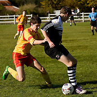 13.10.12<br /> McDonalds Ennis/Shannon Clare Schoolboys Soccer League Cup Finals. Firefighter Darren Stack Memorial Under 16 Cup Final, Moher Celtic V Avenue Utd. Moher's Jimin Dooley in action against Avenue's James Woods. Pic: Alan Place Press 22