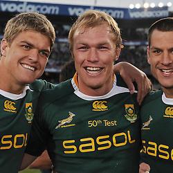 Juan Smith, Schalk Burger in his 50th Test and Pierre Spies was the loose trio of the Springboks at Loftus.<br />  Springboks vs British&Irish Lions - Loftus Versfeld - Pretoria - South Africa. during the British and Irish Lions tour 2009