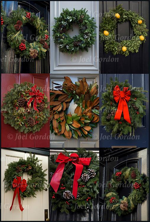 Nine Christmas wreaths on front doors in Greenwich Village.<br /> <br /> Christmas Wreath - GOR-79083-10 <br /> Christmas Wreath - GOR-79104-10<br /> Christmas Wreath - GOR-79112-10<br /> Christmas Wreath - GOR-79074-10<br /> Christmas Wreath - GOR-79077-10<br /> Christmas Wreath - GOR-79068-10<br /> Christmas Wreath - GOR-79081-10<br /> Christmas Wreath - GOR-79083-10<br /> Christmas Wreath - GOR-79093-10<br /> Christmas Wreath - GOR-79081-10<br /> Christmas Wreath - GOR-79054-10