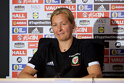 SWANSEA, WALES - Wednesday, June 6, 2018: Wales' manager Jayne Ludlow during a press conference at the Liberty Stadium ahead of the FIFA Women's World Cup 2019 Qualifying Round Group 1 match against Bosnia and Herzegovina. (Pic by David Rawcliffe/Propaganda)